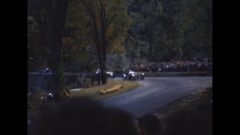 Vintage 16mm film,  1950 Watkins Glen race lap, stone bridge corner #2 Stock Footage