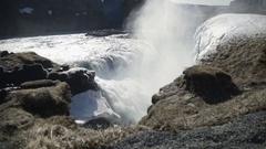 Slow Motion Of Beautiful Gullfoss Waterfall Stock Footage