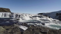 Gullfoss Waterfall In The Hvita River Stock Footage
