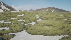 Moss Covered Landscape With Snow In Iceland Stock Footage