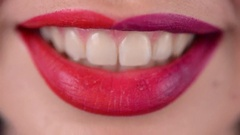 Closeup of Woman Red Lips with Gloss Lipstick Stock Footage