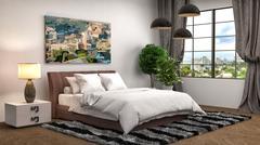 Bedroom interior. 3d illustration Stock Illustration