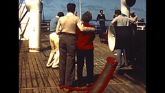 Vintage 16mm film,  Aboard the SS De Grasse, up on deck beeze and seas 1950 Stock Footage