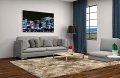 Interior with grey sofa. 3d illustration Stock Illustration