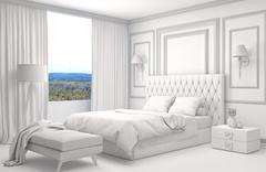 Bedroom interior with CAD wireframe mesh. 3D Illustration Stock Illustration