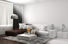 Interior with sofa and CAD wireframe mesh. 3d illustration Piirros