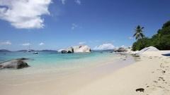 The Baths Beach, Virgin Gorda, British Virgin Islands Stock Footage
