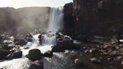 Thingvellir Waterfall In Iceland On Sunny Day Stock Footage