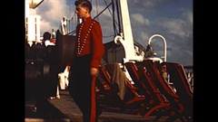 Vintage 16mm film, Aboard the SS De Grasse, cabin boy working 1950 Stock Footage