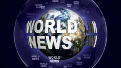 WORLD NEWS Text Animation and Earth, Loop, 4k Stock Footage
