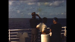 Vintage 16mm film, Aboard the SS De Grasse, passengers on the deck 1950 Stock Footage