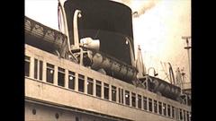 Vintage 16mm film, 1950, SS De Grasse ocean liner moving off Stock Footage