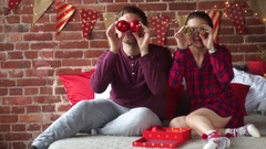 The husband gives his wife a Christmas present. Stock Footage