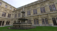 Fountain in front of Vienna Staatsoper (Vienna State Opere) in Austria. Stock Footage