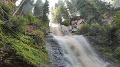 Waterfall Maiden's Tears valley Jets-Oguz. Issyk Kul, Kyrgyzstan Stock Footage