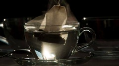 Tea Bag in a Transparent Cup HD Pro Stock Footage