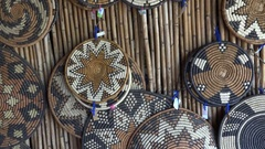 African stock video of traditional woven art curios Stock Footage