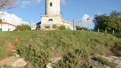 The lighthouse, Savudrija Point, in Istria region, Croatia. Stock Footage