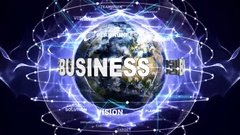 BUSINESS Text Animation and Earth, with Keywords, Zoom Camera, 4k Stock Footage