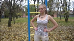 Young Beautiful Sportive Girl Training In Park Stock Footage