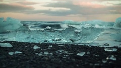 Ice And Ocean Waves At Diamond Beach In Iceland Arkistovideo