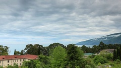 4K. Movement of the clouds over the city Gagra, Abkhazia, Ultra HD.  Stock Footage