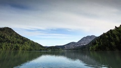 4K. Alpine Lake Ritsa spring, Abkhazia, Ultra HD.  Stock Footage