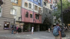 Hundertwasserhaus, the colored building in Vienna Stock Footage