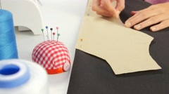 Paper pinned to the fabric. Close up Stock Footage