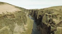 Magnificent Canyon And River At Fjadrargljufur Stock Footage