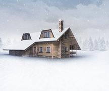 Seasonal wooden chalet at winter snowfall Stock Illustration