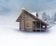 Seasonal wooden hut at winter snowfall Stock Illustration