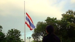 Half-mast or half-staff of Thai national flag in order to respect and mouring Stock Footage