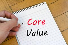 Core value text concept on notebook Stock Photos