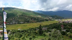Bhutan landscape of Thimphu area panorama view with mountains and the town Stock Footage