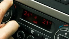 Car air conditioning adjusting temperature climate control Stock Footage