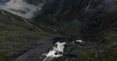 Trollstigen dramatic flyover Stock Footage