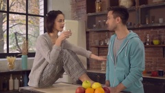 Newlyweds spend time in apartment Stock Footage