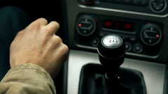 Modern car interior detail shifting gears Stock Footage