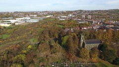 Aerial shot of St Andrews Church, Netherton. Stock Footage