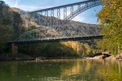 Rafters at the New River Gorge Bridge in West Virginia Stock Photos