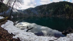 4K. Alpine Lake Malaya Ritsa in winter under gloomy clouds, Abkhazia, Ultra H Stock Footage