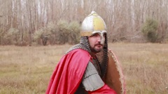 Medieval knight with sword in winter Landscapes Stock Footage