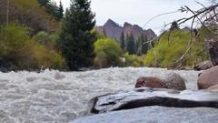 Jeti-Oguz (Seven Bulls Rocks). Issyk Kul, Kyrgyzstan Stock Footage