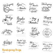 Thanksgiving hand lettering and calligraphy design Stock Illustration