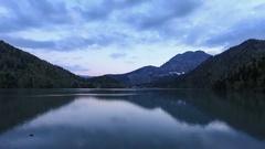 4K. Sunset on an alpine lake Ritsa spring. Abkhazia, Ultra HD. 4096x2304 Stock Footage