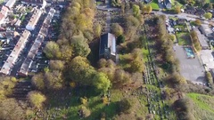 Tilting aerial view of a beautiful Anglican Church. Stock Footage