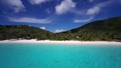 Aerial view of White Bay, Guana Island Stock Footage
