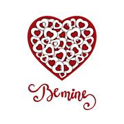 Hand sketched Be Mine text as Valentine s Day logotype Stock Illustration