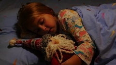Young Girl Ask Santa Claus for Christmas Gift. Close up. Stock Footage